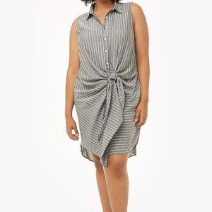 Pinstriped Tie Front Shirt Dress